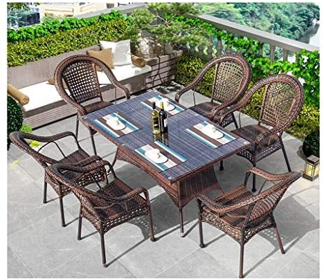 ASDDD High-end Villa Outdoor Patio Furniture Set, Rattan Garden Furniture Sets Patio Table and Chairs Sets Glass Coffee Table Conversation Coffee Table Patio Conversation Outdoor