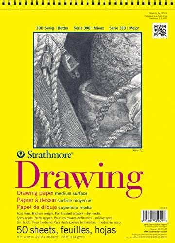 Strathmore 300 Series Drawing Pad, Medium Surface, 9″x12″, Wire Bound, 50 Sheets