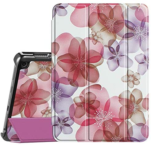 Fintie Slim Case for All-New Kindle Fire HD 8 Tablet and Fire HD 8 Plus Tablet (10th Generation, 2020 Release) – Ultra Lightweight Slim Shell Stand Cover with Auto Wake/Sleep, Floral Purple