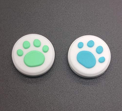 Silicone Analog Controller Thumb Stick Joystick Grips Cap for Nintendo Switch NS & Switch Lite Controller Joy-Con ThumbStick Cute Cat Paw Claw (Blue + Green 2PCS)