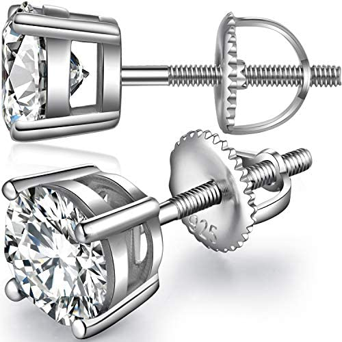 ZowBinBin 18K White Gold Plated Sterling Silver Round Cut and Princess Cut Cubic Zirconia Stud Earrings with Secure Screw Backs Hypoallergenic Silver Earrings with Delicate Gift Box for Women Men