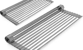 MOKIUER Roll Up Dish Drying Rack 20.5″ x 12.8″ , Stainless Steel Over The Sink Counter Drainer Gadget Tool for Many Kitchen Task, Foldable Large Dish Drainers Rack ,Grey,2 Pack