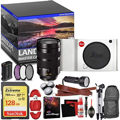 Leica TL Mirrorless Digital Camera (Silver) – Master Landscape Photographer Kit – Memory Card – Accessories with Leica SL 24-90mm f/2.8-4 ASPH. Lens (11176)