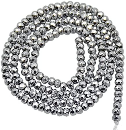 AD Beads Natural Faceted Rondelle Hematite Gemstone Loose Beads 16″ 2x3mm 3x4mm (2x3mm, Metallic Silver)
