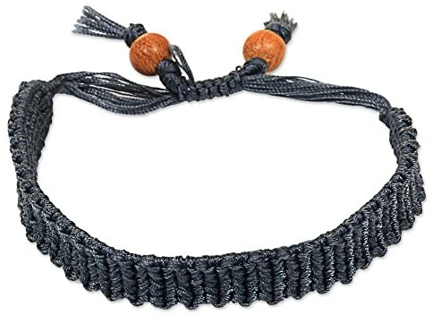 NOVICA Wood Wristband Bracelet 'Braided Grey'