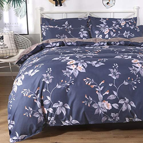 Colorxy Floral Lightweight Duvet Cover 2 Piece Set – Ultra Soft Microfiber Reversible Bloom Printed Comforter Cover with Zipper Closure, Corner Ties and 1 Pillow Sham, Twin (68×90 inches)