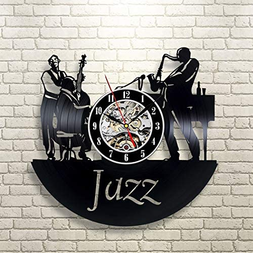 La Bella Casa Jazz Music Art Decor Art Unique Art Wall Clock Vinyl Wall Clock – Get Unique Wall Home Decor – Gift Ideas for Him and Her – Original Handmade Vintage Gift