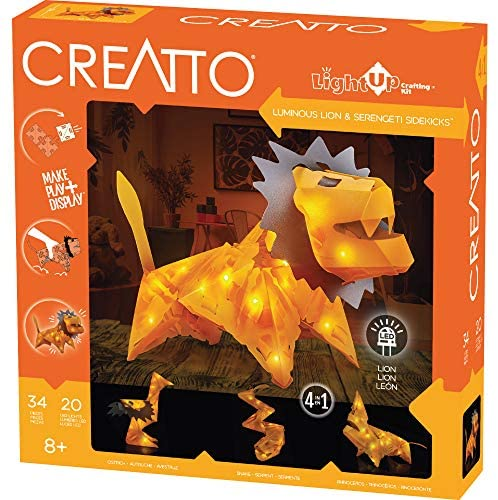 Thames & Kosmos Creatto Luminous Lion & Serengeti Sidekicks Light-Up 3D Puzzle Kit | Includes Creatto Puzzle Pieces to Make Your Own Illuminated Craft Creations | DIY Activity Kit & LED Lights