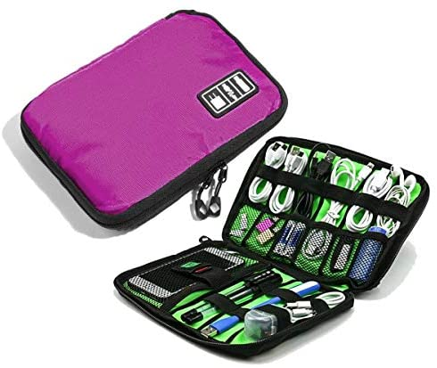 Spacesaver Travel Cable Organizer Case, Electronic Accessories Bag for Phone USB Cable Charger SD Card, Hard Drive Flash Drive- Water-Resistant with Double Zipper (Hot Pink)