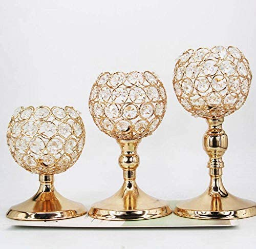 Esharey Gold Crystal Candle Holders Set of 3 Gold Pillar Candlesticks for Home Decor Wedding Kitchen Dinner Tabletop Centerpieces Decorative Birthday Candle Gifts (NO Assembly Required)