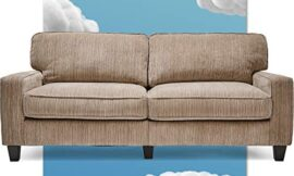 Serta Palisades Upholstered Sofa, Living Room Couch for Small Spaces, Ultra Sturdy Solid Wood Frame, Soft Pet Friendly Fabric, Pillowed Back Cushions, Quick Easy Assembly, 73″, Beige
