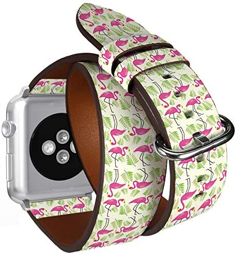Compatible with Apple Watch (Big 42mm/44mm) Series 1,2,3,4 – Double Tour Bracelet Strap Wristband Smart Watch Band Replacement – Tropical Flowers Flamingo Summer Banner