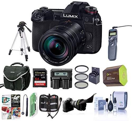 Panasonic Lumix G9 Mirrorless Camera, Black with Lumix G Leica DG Vario-Elmarit 12-60mm F/2.8-4.0 Lens – Bundle with Case, 64GB SDHC U3 Card, Spare Battery, Tripod, Remote Shuter Release, and More