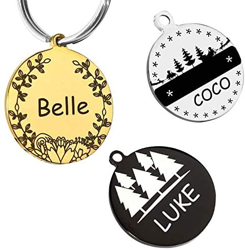 M JJYPET Personalized Pet Id Tags for Cats & Dogs,Stainless Steel Dog Id Tag & Cat Id Tag Engraved Deeply,Small Medium Large Sizes