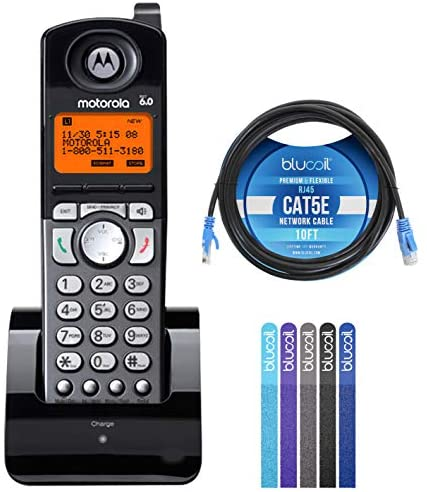 Motorola ML25055 2-Line DECT 6.0 Cordless Handsets Compatible with Motorola ML25212 / ML25252 / ML25260 Base Stations Bundle with 10-FT Cat5e Cable, and 5-Pack of Reusable Cable Ties