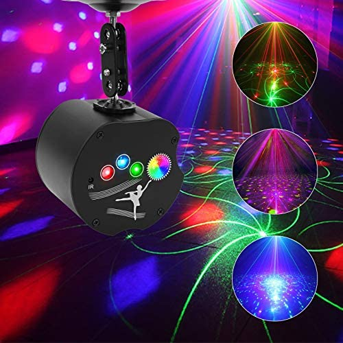 Party Lights, RGB 4 Lens DJ Disco Stage Laser Light Sound Activated Led Projector for Christmas Halloween Decorations Gift Birthday living room KTV Bar Karaoke Wedding (36 Patterns + RGB Background)