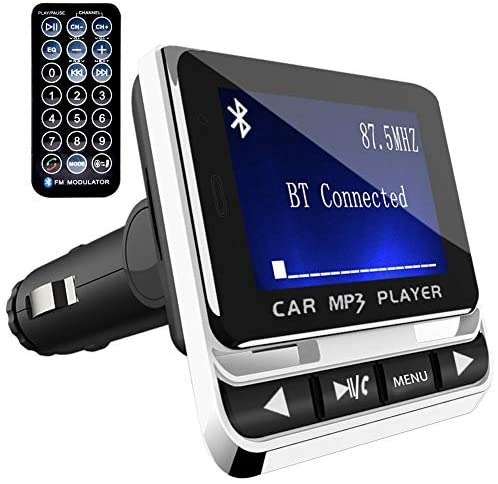 FM Transmitter, Tohayie Bluetooth Wireless Radio Adapter Audio Receiver Stereo Music Tuner Modulator Car Kit with USB Charger, Remote Control, Silver