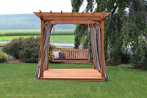 A&L Furniture Co. 8′ x 10′ Amish-Made Cedar Pergola with Deck and 6′ Royal English Porch Swing, Gray