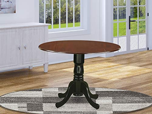 East West Furniture DLT-MBK-TP Dublin Round Table with two 9″ Drop Leaves in Mahogany and Black Finish