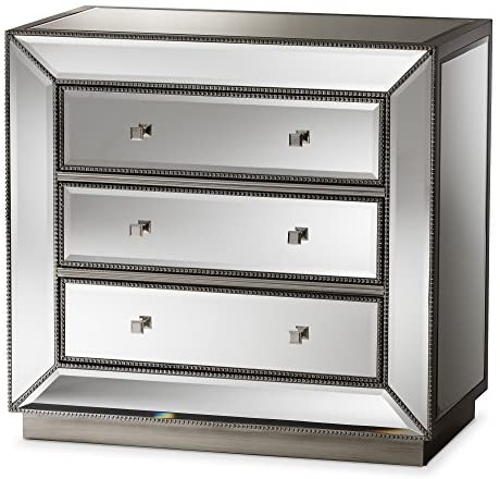 Baxton Studio 424-7485-AMZ chests-of-Drawers, 3, Silver Mirrored