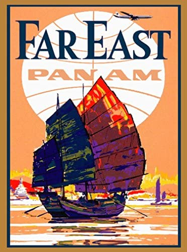 A SLICE IN TIME Far East Pan Am Orient Junk Boat China Chinese Travel Art Collectible Wall Decor Poster Advertisement Print. Measures 10 x 13.5 inches