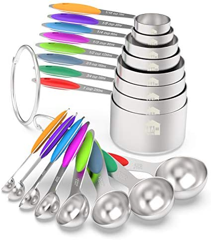 Measuring Cups & Spoons Set of 16 – Wildone Premium Stainless Steel Measuring Cups and Measuring Spoons with Colored Silicone Handle, including 8 Nesting Cups, 8 Spoons, for Dry and Liquid Ingredient