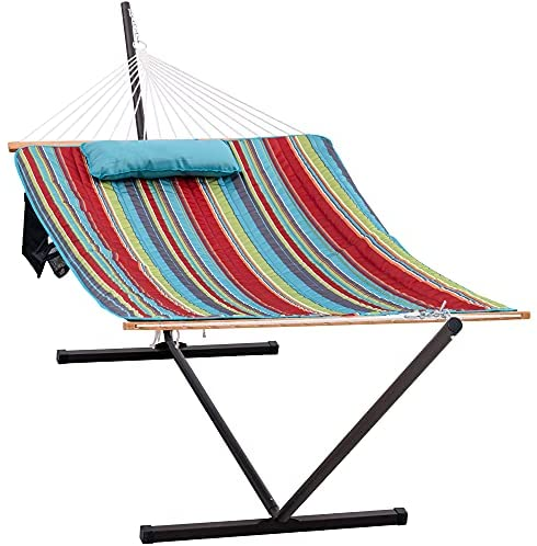 Lazy Daze Hammocks 12 Feet Steel Hammock Stand with Cotton Rope Hammock Combo, Quilted Polyester Hammock Pad, Pillow, Mag Bag and Cup Holder, Blue&Red Stripe