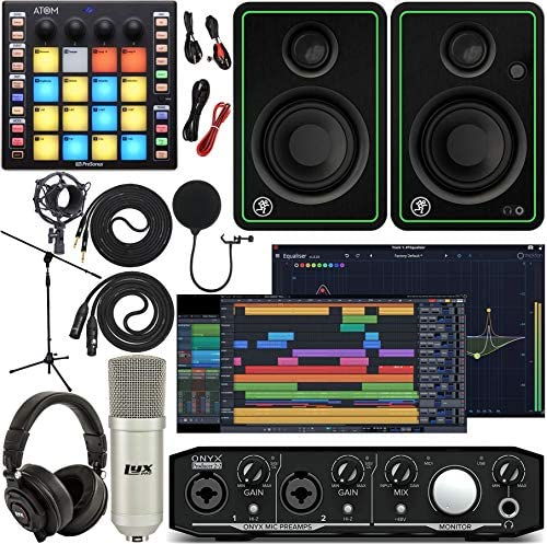 Mackie Onyx Producer 2-2 Audio/Midi interface With Pro Tools First Music Software, ATOM Midi Production Pad Controller, CR4-X BT Pair Bluetooth Monitors, Condenser Microphone, Headphones, Stand