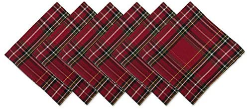 DII CAMZ10906 Oversized 20×20 Napkins, Perfect for Dinner Parties, Christmas, Everyday use, Pack of 6, Holiday Metallic Plaid 6 Count