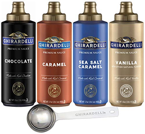 Ghirardelli – 16 Ounce Black Label, 16 Ounce Vanilla, 17 Ounce Caramel, 17 Ounce Sea Salt Caramel Flavored Sauce (Set of 4) with Ghirardelli Stamped Barista Spoon