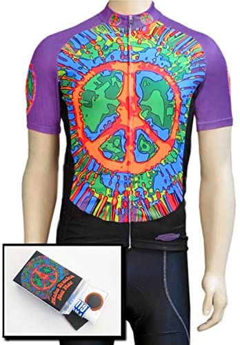 Franks Fun Stuff Peace Sign Tie Dye Bicycle Jersey with Full Zipper, Short Sleeves, and Matching Patch Kit Purple