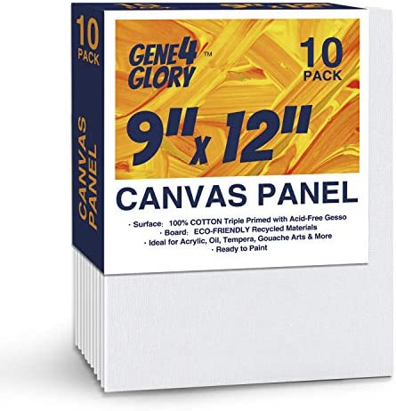 GENE4GLORY Artist Canvas Panel 9 x 12 inch, 10 Pack, Painting Canvas Panel Boards