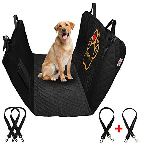 PET'ALMI – Dog Back Seat Cover Protector for Car Simple Type Waterproof Scratchproof Nonslip Protection Against Dirt and Pet Fur Durable Pet Seat Cover for Cars & SUV's with Logo I Love My Labrador