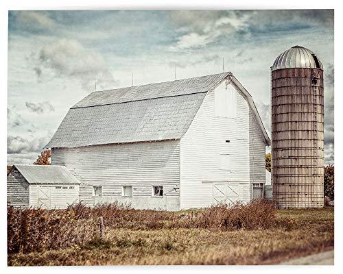 Rustic Farmhouse Wall Art Home Decor Art Print (Not Framed). Country Rustic White Barn Landscape in Fall. Beige, Tan, Gold. (11×14 Print Only)