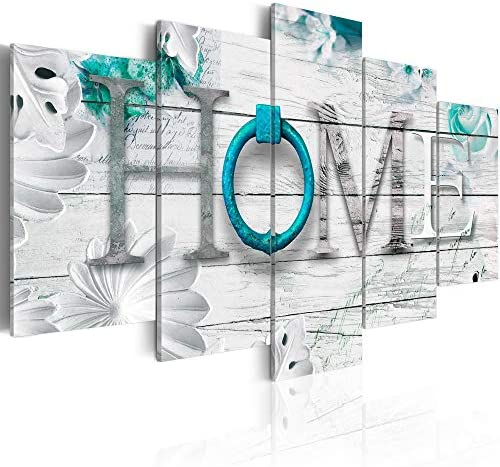Dreamy Home 5 Panels Turquoise Canvas Print Painting Decor Modern Abstract Wall Art Decoration 40″W x 20″H