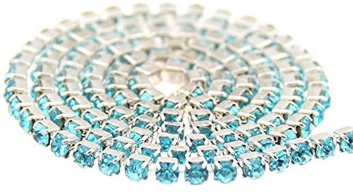 Nizi Jewelry Non Hotfix Glass Cup Chain Beads Aquamarine Rhinestones Silver Base For Clothes Shoes Jewelry Decorations (ss12 3mm About 5m/5.4yards)