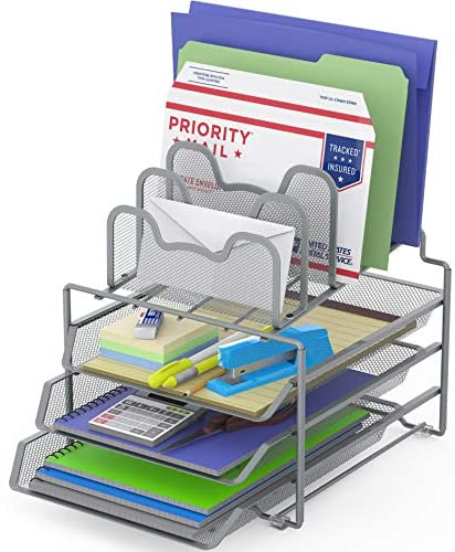 SimpleHouseware Desk 3 Sliding Tray and 5 Stacking Section Organizers, Silver