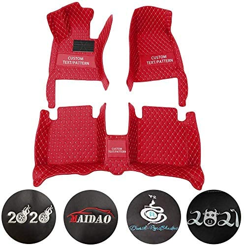 Custom Car Floor Mats for Hummer H3 2008 Can Be Customized for 99% of Car Models Waterproof Non-Slip Leather Liner Set red