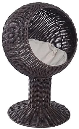 PawHut 28″ Hooded Rattan Wicker Round Elevated Condo Cat Bed with an Elegant Design & Included Cushion