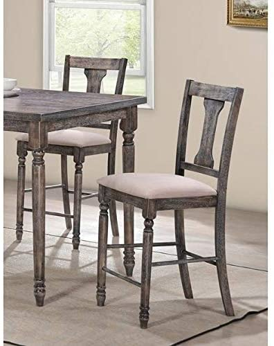 Best Master Demi Birch Wood Counter Height Stool in Smoked Gray (Set of 2)