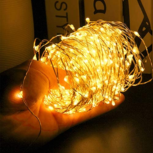 66FT 200 LEDs Starry Fairy Lights String Lights, Bendable Copper Twinkle Lights with 4 Lighting Modes Remote Control for Bedroom Wall Tapestry Decor Indoor Outdoor Use, USB Powered