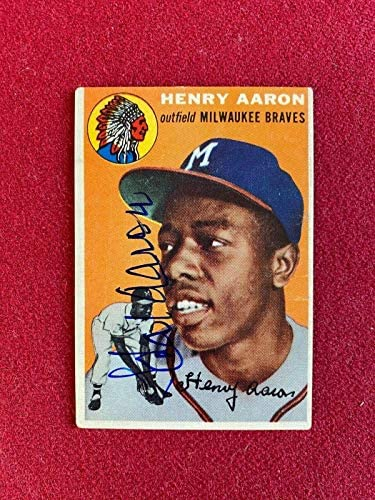 "1954, Hank Aaron,""Autographed"" (JSA Letter) TOPPS ROOKIE Card (Braves) Scarce – Baseball Slabbed Autographed Cards"