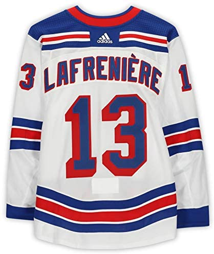 Alexis Lafreniere New York Rangers Game-Used #13 White Jersey vs. Pittsburgh Penguins on January 22, 2021 – Worn During the 3rd Period – Size 56 – Game Used NHL Jerseys