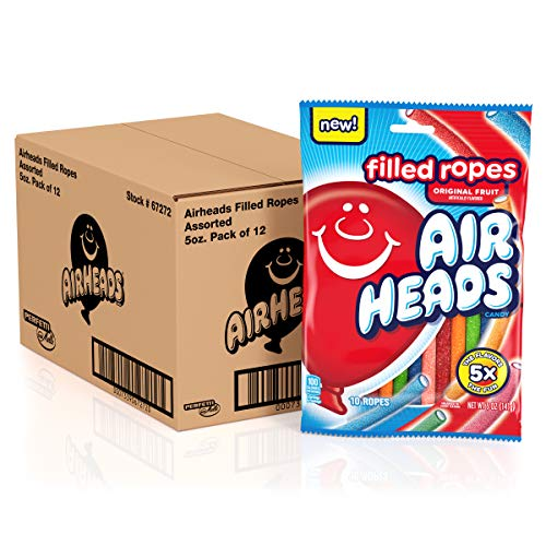 Airheads Filled Ropes Candy Fruit 5 Oz, original, 60 Ounce, (Pack of 12)