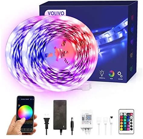 Volivo Smart WiFi Led Strip Lights 32.8ft, 2 Rolls of 16.4ft RGB Color Changing Led Strip Lights Compatible with Alexa, Music Sync Led Lights for Bedroom Home, Kitchen, Decoration