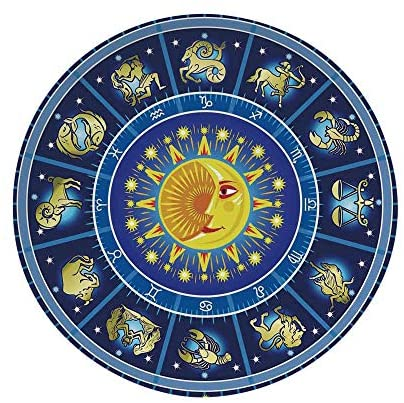 Ylljy00 Astrology 7″ Dinner Plate,Horoscope Circle Around Sun Birth Zodiac Constellation Fortune Home Ceramic Decorative Plates,Dining Table Tabletop Home Decor,Yellow Orange Dark Blue