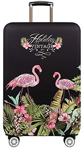TRAVELKIN Travel Elastic Spandex Suitcase Protector Case, 18/24/28/32 Inch Suitcase Protective Cover, Thickened and Washable Luggage Cover (L(25″-28″luggage), Flower Flamingo)
