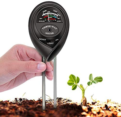 Soil Tester, 3 in 1 Soil Test Kit for Moisture, Light & pH Meter for Plant, Vegetables, Garden, Lawn, Farm, Indoor/Outdoor Plant Care Soil Tester (No Battery Need & Update)(Black)