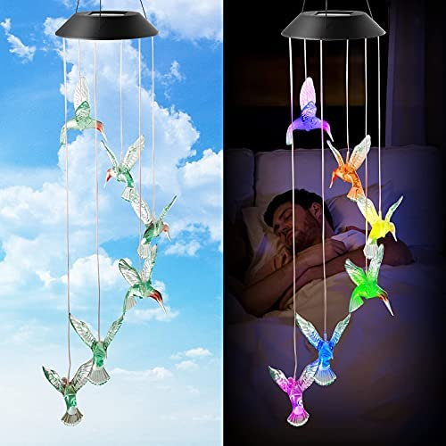 We All LED Solar Hummingbird Wind Chime, Changing Color Waterproof Six Hummingbird Wind Chimes for Home Party/Garden Decoration/Patio/Outdoor (Green Hummingbird )