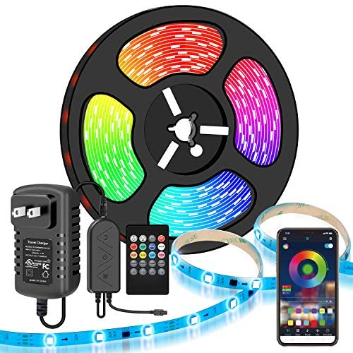 LED Strip Lights, Moobibear 5M/16.4FT Flexible Strip Light SMD 5050 RGB with Bluetooth Controller Changing Tape Lights kit with LED Sync to Music for Bedroom,Kitchen Under Counter, Under Bed Lighting